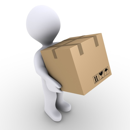 package: 3d person is carrying a sealed carton box