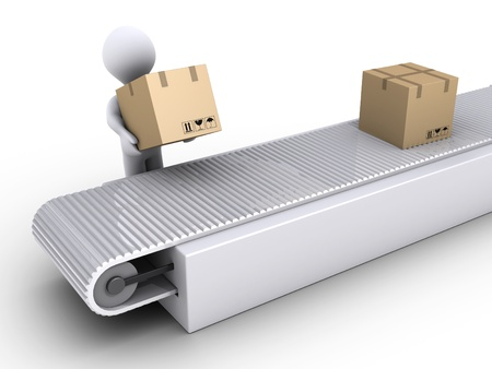 fragile industry: 3d person is putting a box on conveyor for shipping Stock Photo