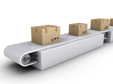 packaging industry: 3d carton boxes on conveyor in a warehouse Stock Photo