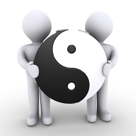 Two 3d people are holding a yin and yang symbol Stock Photo