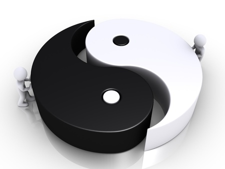 Two 3d people are pushing the two parts of a yin and yang symbol photo