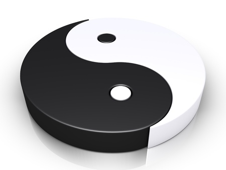 yin yang: 3d yin and yang symbol is on the ground Stock Photo