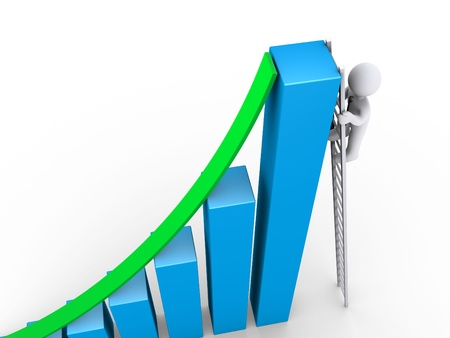 3d businessman is climbing on ladder to the top of graph Stock Photo - 15985498