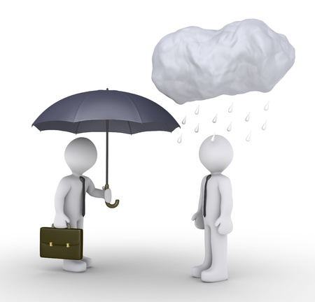 3d businessman is offering umbrella to another one, that has rain over his head photo