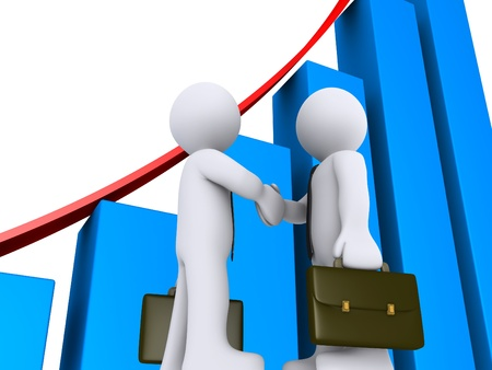 sales team: 3d businessmen shake hands with growing graph as background