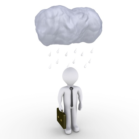 3d image of a cloud and raindrops over a businessman Stock Photo - 15985496