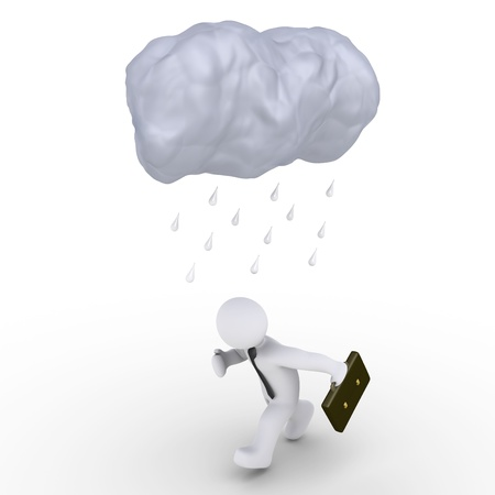 chased: 3d image of a cloud and raindrops over a running businessman