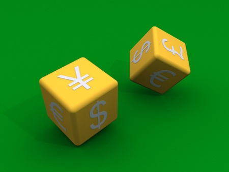 yen sign: 3d dice with currency symbols are tossed
