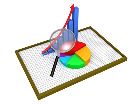 3d graphic charts on a board as statistics and a magnifier photo