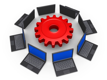 3d laptops around a cogwheel as network for common goal Stock Photo - 16418687