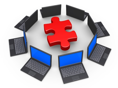 3d laptops around a puzzle piece as network for solution concept Stock Photo - 16418685