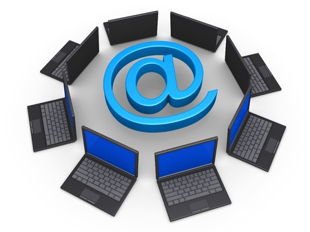 3d laptops around an e-mail symbol as network for communication concept Stock Photo - 16418690