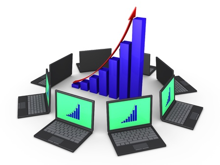 3d laptops around a growing graph as network for common goal Stock Photo - 16418695