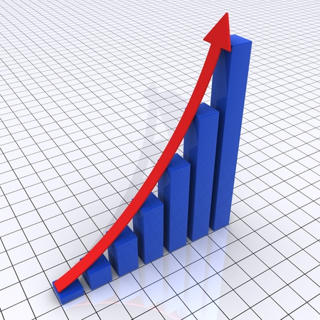 rising graphic: 3d rising graphic chart consisted of columns and an arrow