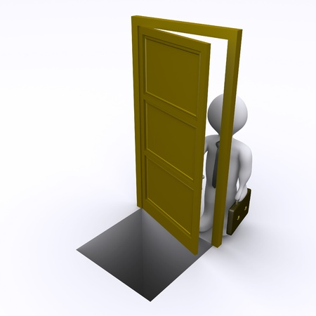 3d businessman is opening a door that has a gap behind it Stock Photo - 16596574
