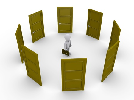 which one: 3d businessman surrounded by doors is thinking which one to open