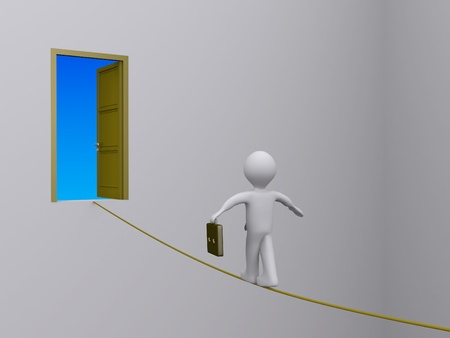 3d businessman walking on tightrope in order to reach open door photo