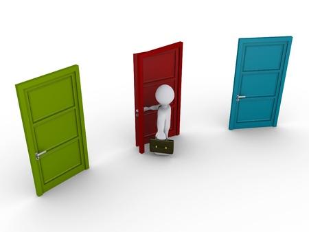 portone: Uomo d'affari 3d sceglie di aprire la porta di mezzo su tre Archivio Fotografico