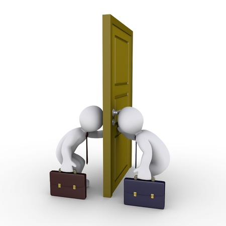 side viewing: Two businessmen looking through keyhole on opposite sides of door