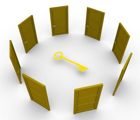 cgi: Many 3d doors around a golden key Stock Photo