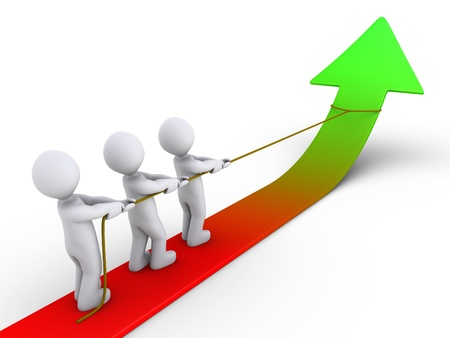 sales chart: Three 3d people are pulling arrow upwards with rope Stock Photo
