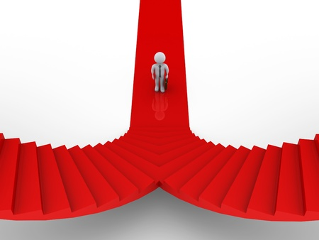two roads: 3d businessman is standing in front of two stairs of opposite direction