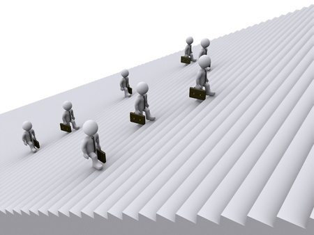3d businessmen are tired of climbing stairs photo