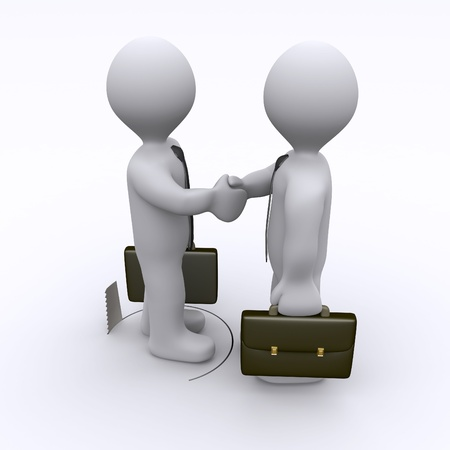 Handshake between two businessmen is sabotaged by hole in the ground Stock Photo - 16923986