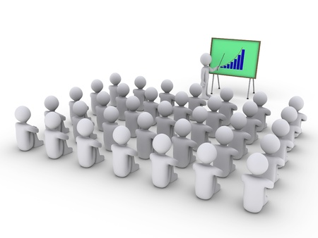 corporate training: 3d person is showing a board with graph to others that are sitting Stock Photo