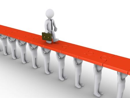 3 d のビジネスマンは人々 によって保持されているパズルのピースを歩いてください。