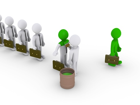 change concept: 3d person is painting business people standing in a row