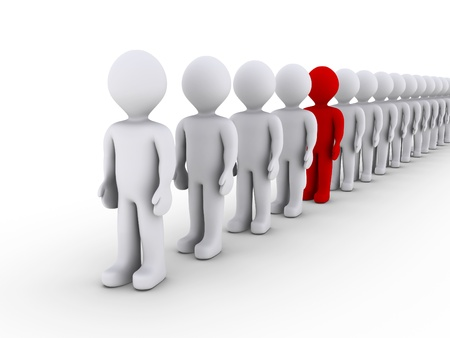 odd job: 3d people in line and one is different in color