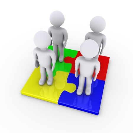 Four 3d people standing on connected puzzle pieces Stock Photo - 17663609