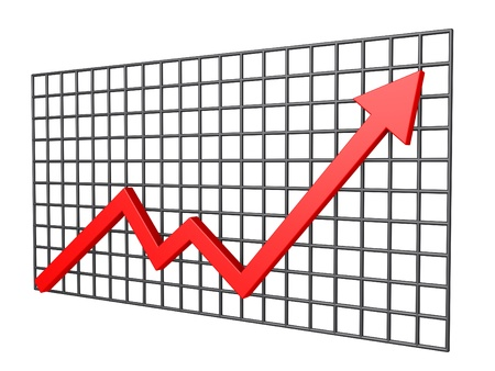 rising graphic: 3d graphic chart in front of vertical grid Stock Photo