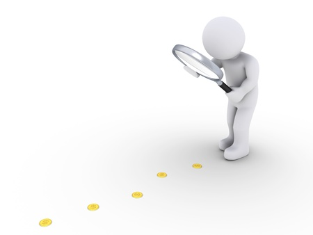 follow: 3d person holding a magnifier is looking at coins on the ground Stock Photo