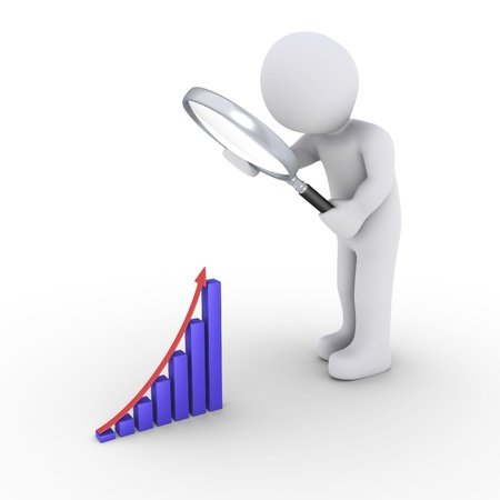 3d person holding a magnifier is looking at a small graphic chart photo
