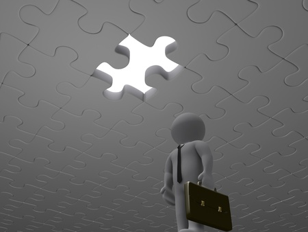 overcome a challenge: 3d businessman is looking up at missing piece of puzzle Stock Photo