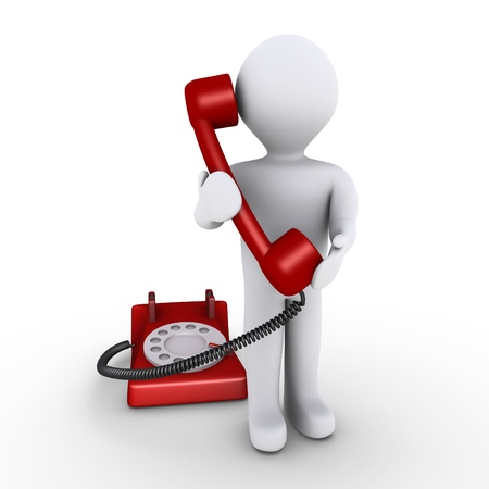 cable telefono: 3d persona est� sosteniendo el receptor delante de tel�fono Foto de archivo