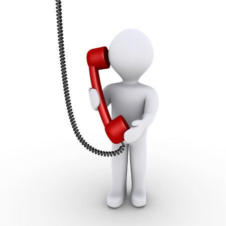 phone us: 3d person is talking on the telephone that is hanging from above
