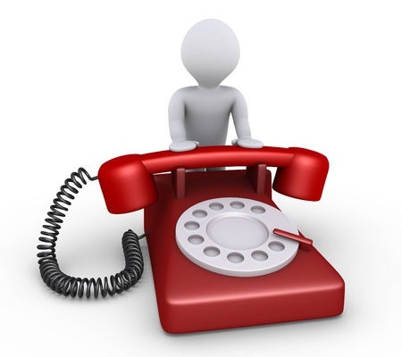 helpdesk: 3d person is leaning on a telephone