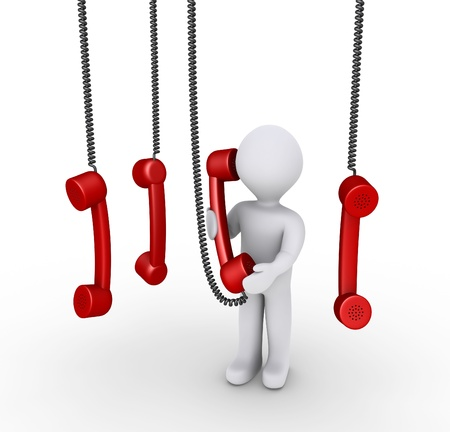 phone calls: 3d person is holding phone receiver and others hanging from above