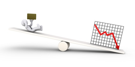 3d businessman is falling due to bad results diagram, on a seesaw Stock Photo - 18148404