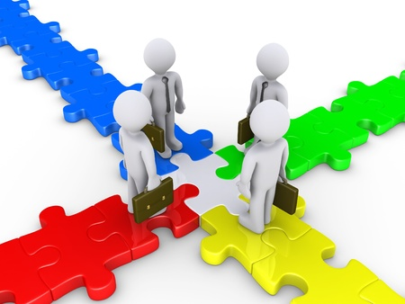 adversaries: Four 3d businessmen meet at the center of puzzle crossroad