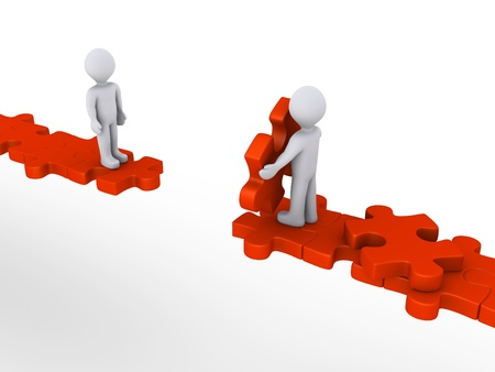 3d person is offering help to another in order to walk on puzzle path photo