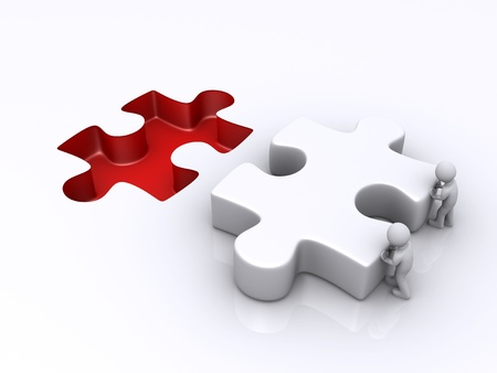 final piece of puzzle: Two 3d persons are pushing the final puzzle piece for completion