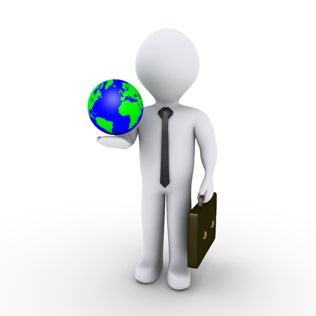 international recycle symbol: 3d businessman is holding the globe