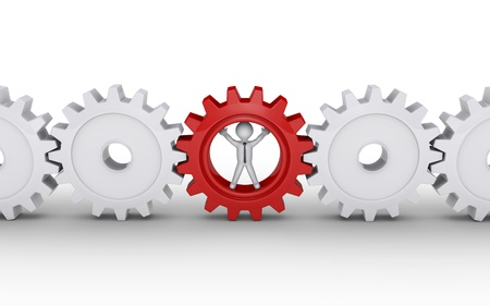individuality: 3d businessman inside cogwheel as the important part of engine Stock Photo