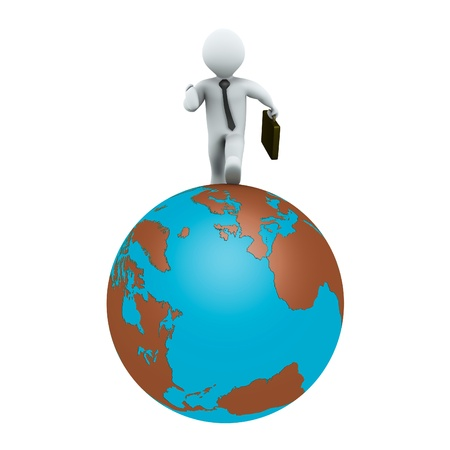 global work company: 3d businessman is running around the globe