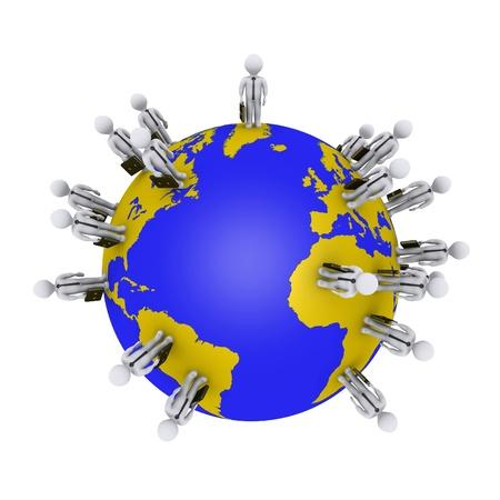 work worker workforce world: 3d businessmen are standing around the globe