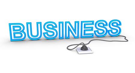enchufe de luz: Palabra negocios 3d está conectado